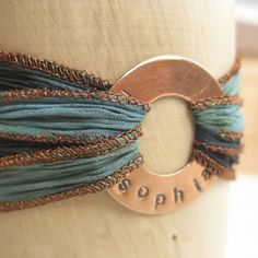 Dyed Silk Ribbon Bracelet with Hand Stamped by WanderingTulip, $27.00