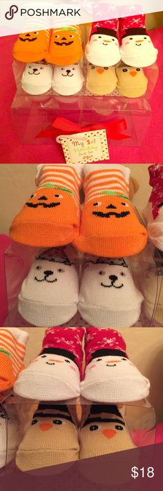 HP 9/21 Baby's My 1st Holiday Sock Set, 4 PRS Everything Kids Party HP 9/21/16 ☃AWESOME! Baby's My 1st Holiday Sock Set, 4 Pairs: Halloween, Thanksgiving, Christmas, and New Year's Day! Pumpkin, Chick, Snowman, & Polar Bear respectively. Unisex. 0-12 Months. 75% Cotton/23% Polyester/2% Spandex. Brand New in Original Gift Package. Excellent Condition. No Trades. ONLY HAVE 2 SETS AVAILABLE! ☃ Baby Gear Accessories Socks & Tights