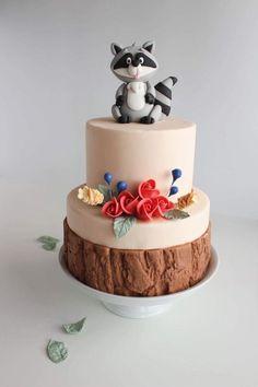 Racoon Fondant Cake by Monique Ascanelli Fondant Cake Designs, Fondant Decorations, Fondant Toppers, Fondant Cakes, Fondant Figures, Cupcakes, Cupcake Cakes, Pocahontas Cake, Boys First Birthday Cake