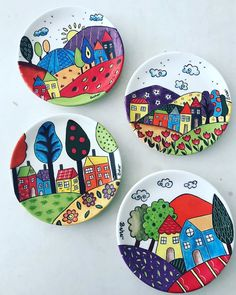 Ceramic Art On Canvas Painted Ceramic Plates, Hand Painted Ceramics, Ceramic Painting, Stone Painting, Ceramic Art, Pottery Painting Designs, Paint Designs, Clay Crafts, Arts And Crafts