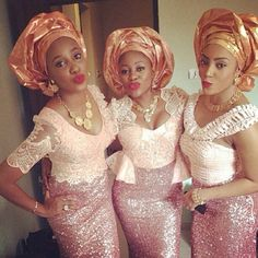 Awesome African Traditional Wedding Dress Godbold Godbold Delaney These are perfect for bridesmaids dresses! Nigerian Dress, Nigerian Bride, Nigerian Weddings, Nigerian Outfits, African Lace, African Women, African Dress, African Style, African Wear