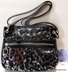 Sienna Ricchi Lara Crossbody Shoulder Bag Black Silver Metallic Leopard NWT   eBay $29 Free Shipping