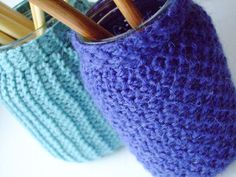 Knit covers for containers to dress them up.