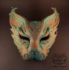 Copper Verdigris Cat Mask by Bakenekoya [Shopping Sunday] Lion Mask, Cat Mask, Cool Masks, Awesome Masks, Leather Headbands, Japanese Makeup, Masks Art, Beautiful Mask, Cool Costumes