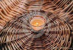 Home decor, candle in basket, special lights