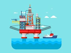 Drilling rig at sea by Anton Frizler (Kit8)