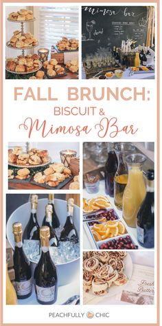 Fall Brunch: Biscuit and Mimosa Bar! This is such an easy and fun way to gather with friends and family for good times, good food, and fun drinks. Perfect for a simple Friendsgiving or breakfast with the family gathered around! Mimosa Brunch, Brunch Menu, Brunch Recipes, Fall Recipes, Mimosa Bar, Brunch Bar Ideas, Brunch Party Decorations, Brunch Decor, Bridesmaid Brunch