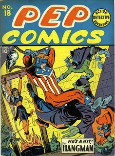 A cover gallery for the comic book Pep Comics Vintage Comic Books, Vintage Comics, Vintage Magazines, Pulp Fiction Comics, Creepy Comics, Archie Comics, Dc Comics, Classic Comics, Comics Universe