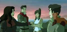 You notice when they join hands, Korra and Mako's hands are practically touching! Their hands aren't on top of each other, there practically beside and touching! Wait! That doesn't make sense! Because Bolin, Asami, and Mako all join hands before Korra joins with 'em. So how did Mako and Korra's hands get together in the middle with Mako's and in between Asami's and Bolin's when Korra's hands should be on top? Interesting…………………………  That made sense, right…?