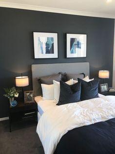 Dark Gray Bedroom, Dark Blue Bedrooms, Blue Master Bedroom, Blue Bedroom Decor, Bedroom Paint Colors, Bedroom Color Schemes, Bedroom Ideas, Bedroom Designs, Modern Bedroom