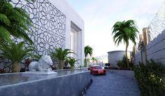 arabic modern villa - Google Search Corridor Design, Entrance Design, Door Design, Exterior Design, House Design, Islamic Architecture, Architecture Design, Villas, Architectural Pattern