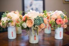 cactus rose plant centerpieces for a wedding in mint green and blush pink - Google Search