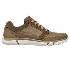 Skechers Men's Edmen Ristone Memory Foam Lace Up Sneakers (Khaki/Natural)