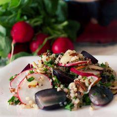 chai spiced pickled grapes and quinoa salad on fmitk.com