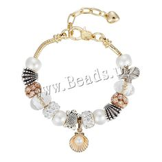 European Bracelet, Zinc Alloy, with brass chain & Rhinestone Clay Pave & Crystal & Plastic Pearl, with 2 lnch extender chain, plated