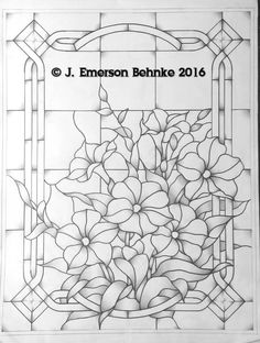 A pattern for stained glass. Pattern is a black and white pdf. Glass Painting Patterns, Stained Glass Patterns Free, Stained Glass Quilt, Glass Painting Designs, Stained Glass Flowers, Faux Stained Glass, Stained Glass Designs, Stained Glass Panels, Stained Glass Projects