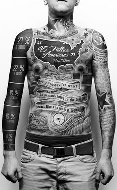 So fucking cool!    Polish artist Paul Marcinkowski tattooed an infographic about tattoos on his neck, arms and torso as a school project, putting the rest of us who consider ourselves passionate about either tattoos or data visualization to shame.