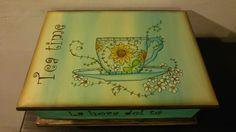Caja de té pintada a mano