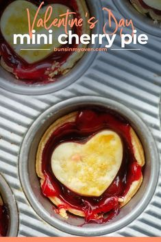 These mini cherry pies bake in a muffin tin in no time! This recipe is quick and easy with just 4 ingredients. Perfect for Valentine's Day! #minicherrypies #pie Easy Holiday Recipes, Best Dessert Recipes, Fun Desserts, Delicious Desserts, Pie Crust Dessert Recipe, Pie Eating Contest, Mini Cherry Pies, Canning Cherry Pie Filling, Holiday Pies