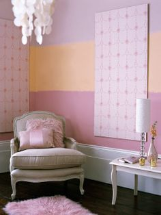 Painting wide horizontal pink stripes by hand produces a blurred, dreamy effect http://www.ivillage.com/home-decorating-ideas-pink/7-a-527745