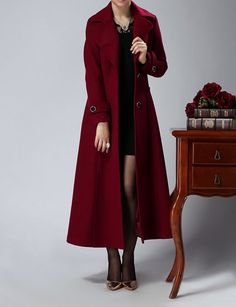 Long wine red cashmere dress coat big sweep women wool winter coat dress long jacket large size wmen coat windcheater outercoat windbreaker