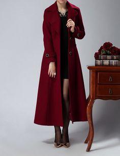 Long wine red cashmere dress coat big sweep women wool winter coat dress long jacket large size wmen coat windcheater outercoat windbreaker