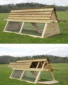 A-frame style movable chicken coop. …
