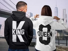 King Queen King Queen Hoodies Set of King & Queen Pärchen Cute Couple Shirts, Matching Couple Outfits, Matching Couples, Cute Couples, Matching Set, King And Queen Sweatshirts, King Queen Shirts, Valentine Shirts, Kings & Queens