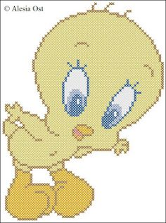 Free cross-stitch patterns, Tweety Bird, bird , Looney Tunes, Merrie Melodies, cartoon, cross-stitch, back stitch, cross-stitch scheme, free...