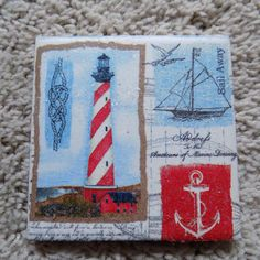 Lighthouse and Nautical Ceramic Tile by LaceyGraceBoutique on Etsy