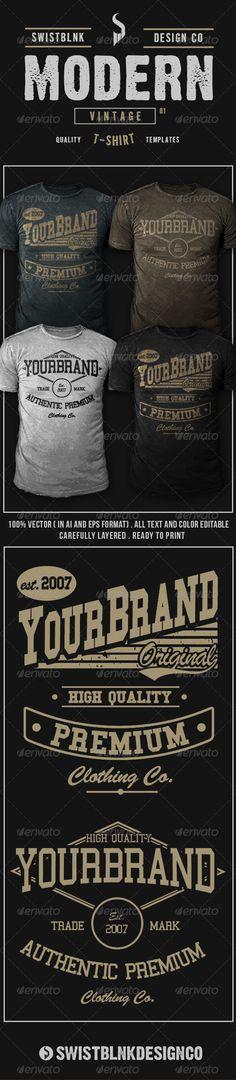 #Modern Vintage #T-Shirt 01 - #Designs T-Shirts Download here: https://graphicriver.net/item/modern-vintage-tshirt-01/6594379?ref=alena994