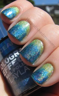 neon holo gradient nails