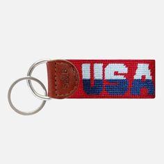 Smathers & Branson USA Needlepoint Key Fob (Red)
