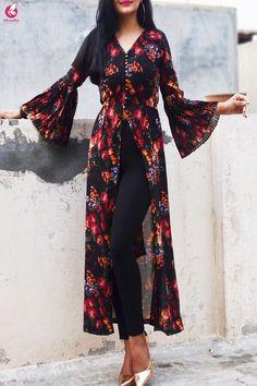 Buy Powder Blue Floral Printed Crepe Front Slit Kurti Online in India Kurta Designs Women, Kurti Neck Designs, Kurti Designs Party Wear, Blouse Designs, Long Kurta Designs, Latest Kurti Designs, Printed Kurti Designs, Indian Designer Outfits, Indian Outfits