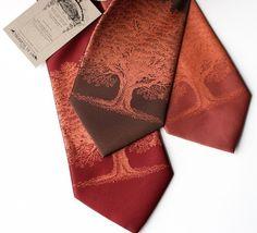 Oak Tree necktie. Tree print tie. Standard or narrow width