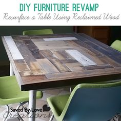 How to revamp a table top with reclaimed wood #pallets #woodworking #diy