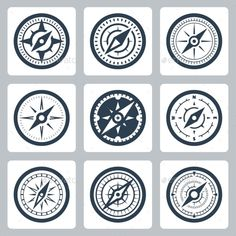 Compasses Vector Icon Set — Photoshop PSD #isolated #vector • Available here → https://graphicriver.net/item/compasses-vector-icon-set/11687274?ref=pxcr