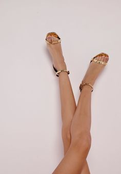 Missguided - High Shine Barely There Heeled Sandals Gold