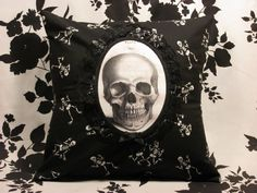 Gothic Victorian Skeleton Skull Cameo Pillow Cover - Warning Label Creations