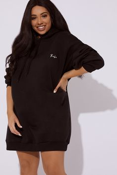 1f79329c7b8 Curve Dani Dyer Babe Black Embroidered Oversized Hoodie Dress