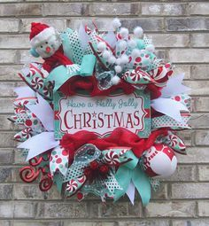 NEW! - Holly Jolly Christmas Mesh Wreath by iCraftWreaths on Etsy