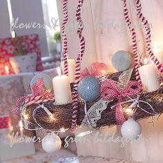 light blue, red christmas
