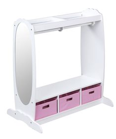 Guidecraft Dress Up Storage - White: Dramatic Play Costume Rack with Mirror and Tray for Toddlers - Kids Armoire, Dresser with Fabric Storage Bins Dress Up Clothes Storage, Dress Up Closet, Dress Clothes, Dress Up Area, Kids Dress Up, Closet Storage, Diy Storage, Storage Units, Storage Solutions