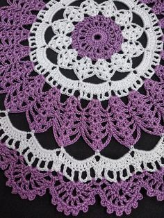 Violet white crochet doily-medium doily-Home decor-white crochet doilies-purple doily-violet crochet doily -Handmade tablecloth Free Crochet Doily Patterns, Crochet Patterns For Beginners, Crochet Tablecloth Pattern, Tatting Patterns, Crochet Sunflower, Crochet Flowers, Thread Crochet, Crochet Hooks, Crochet Dollies