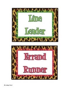 Leopard and Zebra Print Themed Classroom Signs