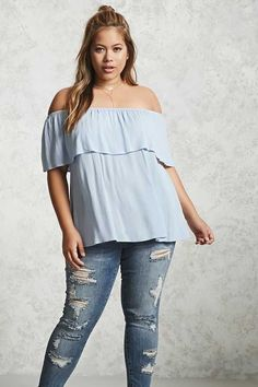 52c56e2c290 Forever 21 FOREVER 21+ Plus Size Off-the-Shoulder Top Curvy Women Fashion