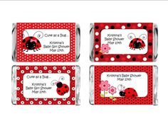Complete your Ladybug themed baby shower with these adorable Mini Wrappers. Easy to apply self stick labels make creating these favors a