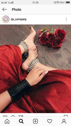 Stylish Jewelry, Ethnic Jewelry, Pandora Jewelry, Silver Jewelry, Leg Chain, Bridal Bangles, Wedding Costumes, Oxidised Jewellery, Gorgeous Feet