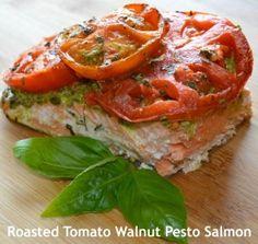 Roasted Tomato Walnut Pesto Salmon #Mediterraneanstyle, #hearthealthy, #roastedtomato