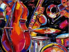 Hot new -Susanne Clark-Red Jazz reproduction,100%hand painted on canvas Musical Instruments oil paintings,New artist(China (Mainland))